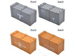 10pcs/lot  MOC WW2 German US Army Printed Weapons Guns Crates Box Case Building Blocks Toys
