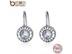 BAMOER Genuine 925 Sterling Silver Family Forever CZ Drop Earrings Women Fashion Fashion Earrings Silver Jewelry Brincos SCE219