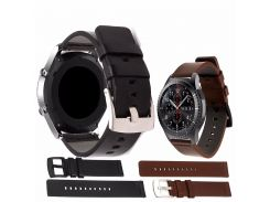 Easy Install Genuine Classic Black Leather Strap for Samsung Gear S3 Classic Frontier Steel Buckle Wrist Bracelet Brown