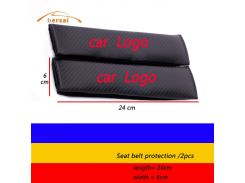 2pcs carbon fiber car shoulder belt safety belt for Audi BMW VW TRD NISSAN MAZDA TOYOTA Seatbelt cover Car styling accessories