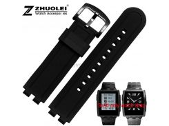 22mm Black Silicone Rubber Wrapped Stainless Steel Watch Band Bracelets replace Pebble Steel2 watchbands
