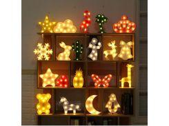 Luminaria Novelty 3D Marquee Unicorn Flamingo Table LED Lamp Love Children's Night Light Star Moon Cloud Heart Deer Decor Letter