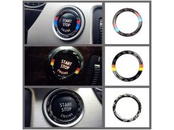 For BMW E90 E92 E93 Carbon Fiber Car Engine Start Stop Ring Trim M Sport Car Ignition Key Ring 3 Series Car Accessories
