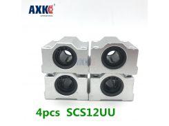 High Quality 4 Pcs Sc12uu Scs12uu Linear Motion Ball Bearings Slide Block Bushing For 12mm Linear Shaft Guide Rail AXK SC12