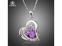 AZORA Forever Love Three Heart Superposition Romantic Purple Cubic Zirconia Pendant Necklaces for Valentine's Day Gift TN0200