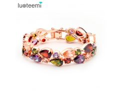 LUOTEEMI Brand Hot Selling Mona Lisa Multicolor Crystal Glass Bracelet for Women Cheap Bracelet & Bangles Wedding Jewelry