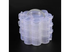 3 Layers Clear Plastic Bead Storage Containers Total of 14 Compartments Flower Shaped Containers for Jewelry 165x145x125mm