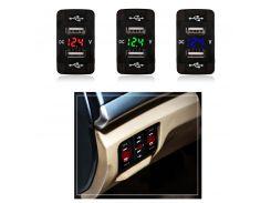 5V 2.1A Car USB Cigarette Lighter Socket Charging 12V Dual USB Car Charger Voltmeter Socket For Honda for Toyota For All Phone