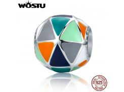 WOSTU New Collection 925 Sterling Silver Art Geometric Triangle Enamel Beads fit original WST Charm Bracelets Jewelry CQC304