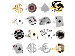 Free Shipping Men Cuff Links Gamble Casino Series Roulette Dice Poker Jeton Design Fashion Cufflinks Wholesale&retail