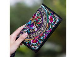 2018 Ethnic Boho Embroidered Floral Long Wallet Gift High Quality Brand Cotton Blend Wallet Female National Retro Shoulder Purse