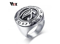 Vnox 25mm Vintage Horus Eye Ring for Men High Quality Stainless Steel Punk Rock Male Jewelry Silver Color Size 8-12