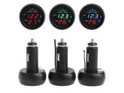 3in1 Auto Digital LED Thermometer USB Car Charger Cigarette Voltmeter Meter 12V/24V Auto Interior Parts Cigarette Lighter
