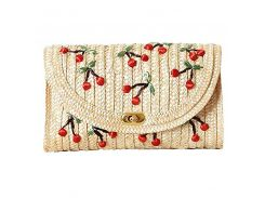 LJL Weave Embroidery Cherry Chain Women Messenger Bags Bohemian Style Mini Women's Messenger Bags-
