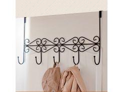 Iron Art Back Door Hanger Hook Bathroom Kitchen Hanger Hooks With 5-Hook Towel Hat Clothes Door Wall Hooks Rack
