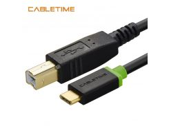 Cabletime USB C 3.1 to USB 2.0 B Male Scanner Printer Cable 2m Type C to Type Male Charging Cord for Computer PC Laptop N037