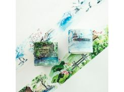 4CM Wide The Pavilion In Winter Summer Scenery Washi Tape Adhesive Tape DIY Scrapbooking Sticker Label Masking Tape