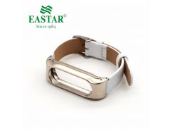 Eastar White Smart Watch Accessories For XiaoMI Band Stainless Bracelet Replace Wristbands Leather Strap For Mi Band 2