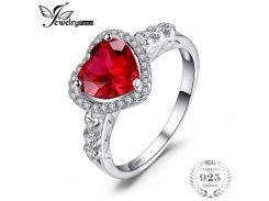 JewelryPalace Heart Of Ocean 2.7ct Created Red Ruby Love Forever Halo Promise Ring 925 Sterling Silver Wedding Jewelry For Women