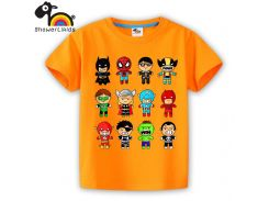 showerlikids High quality cotton short sleeve T-shirt boy and girl children kid clothing colorful Super heroes sPrice Scolor004