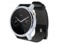 YCYS-Leather Watch Band Wristwatch Strap For Motorola Moto 360 2nd 46mm*22mm/Black