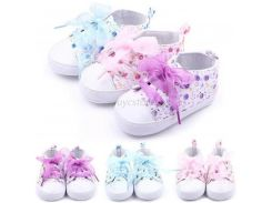 Newborn Toddler Girl Baby Crib Shoes Soft Sole Anti-slip Floral Walk Sneaker 0-12 Months SH85