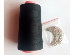 24 pcs C needle with gift 1 roll Black cotton thread weave thread hair weaving thread