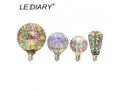LEDIARY 3D Firework LED Bulb A60/G80/G95/G125 E27 Glass Decoration Bulb 110V/220V Holiday Global Lamp Novelty Festival Decor