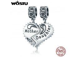 WOSTU New 100% 925 Sterling Silver Mother & Daughter Love Forever Dangle Bead fit original WST charm Bracelet Pendant CQC427