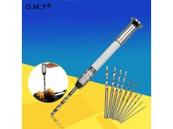 OMY New Wood Plastic Model Hand Hole Drill +10 Drill Bit For Ceramic Carving Polymer Clay Sculpture Craft Drill