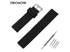 Silicone Rubber Watch Band 24mm for Suunto TRAVERSE Stainless Pin Buckle Strap Wrist Belt Bracelet Black White + Spring Bar