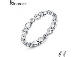 BAMOER Genuine 925 Sterling Silver Classic Forever Love Heart Finger Rings for Women,AAA Zircon Engagement Jewelry SCR043