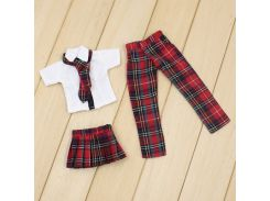 Free shipping for blyth doll icy licca Red Plaid Uniform skirt pants suit clothes gift toy 1/6 30cm