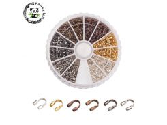 PANDAHALL 540pcs/box Brass Wire Guard Guardian Wire Protectors Loops DIY Jewelry Findings 5x4x1mm 6 Mixed Colors Free Shipping