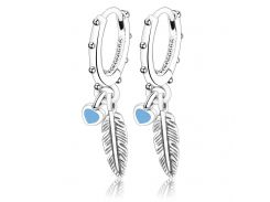 100% S925 Sterling Silver Genuine Suspension Charm Holy Feathers Pendant Stud Earrings For Women Gift Silver 925 Jewelry Aretes