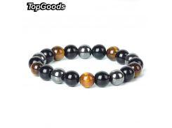 TopGoods Natural Hematite Tiger Eye Black Obsidian Stone Bracelet for Women 10mm Beaded Men Magnetic Health Protection Bracelets