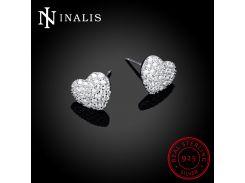 INALIS Hot Sale Luxury Heart 925 Sterling Silver Stud Earrings Female Romantic Zircon Earrings Forever Love for Woman Gift