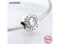 925 Sterling Silver fashion sparkling love is forever Crystal Clear CZ beads  Fit Original Pandora Charm Bracelet Jewelry making