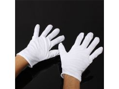 Wholesale 1 Pair Useful White Cotton Gloves For Housework Workers With Knits For Safely Security Working Labor