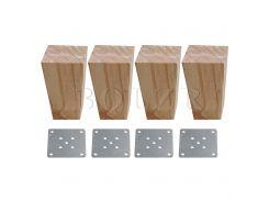 BQLZR 4Pieces Wood Color Wood Trapezoidal Sofa Feet Furniture Leg Part 6x6x12cm
