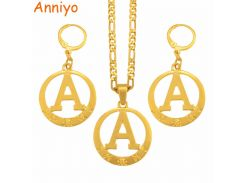Anniyo A to Z Gold Color Alphabet Necklace Earrings Initial for Women Girls Round English Letter Jewelry Gifts #105106