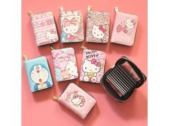524817bfe198 Cute hello kitty PU Leather Card Holder Box Women Business Card Cover  Credit Card Holder Organ