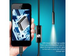 newBlack 6LEDs 1M/7mm Lens Endoscope Waterproof Inspection Borescope Camera for Android PC Phone & Notebook Device