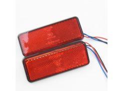 1 pair Motorcycle LED Rectangle Reflector Turn Brake Tail Light Amber/white/red for Universal Car Truck Trailer DC12V