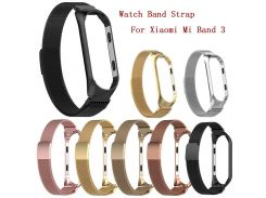 Watch Band Stainless Steel bracelet strap  For Xiaomi Mi Band 3 Large Milanese Magnetic Watch Band Strap For Xiaomi Mi Band 3