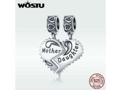 WOSTU New 100% 925 Sterling Silver Mother & Daughter Love Forever Dangle Bead fit original WST charm Bracelet Pendant DXC427