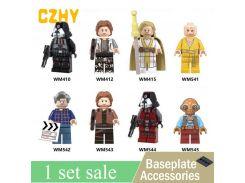 Star Wars George Lucas Han Solo Sith Trooper Luke Skywalker Maz Kannata Snoke Building Blocks Toys for Children WM6039