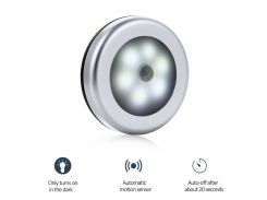 LumiParty Motion Sensor 6 Led Night Light Magnetic Wireless Detector Light Wall Lamp Light Auto On/Off Closet Color Silver