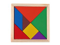 Montessori Wooden Tangram Jigsaw Puzzle Toy Geometry Shape Baby DIY Childhood Early Education Toy Development Wood Puzzle Game