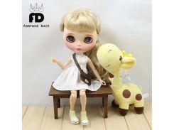 Blyth Doll Clothes for blyth dolls ,azone ,1/6 doll white dree pink bag brown bag